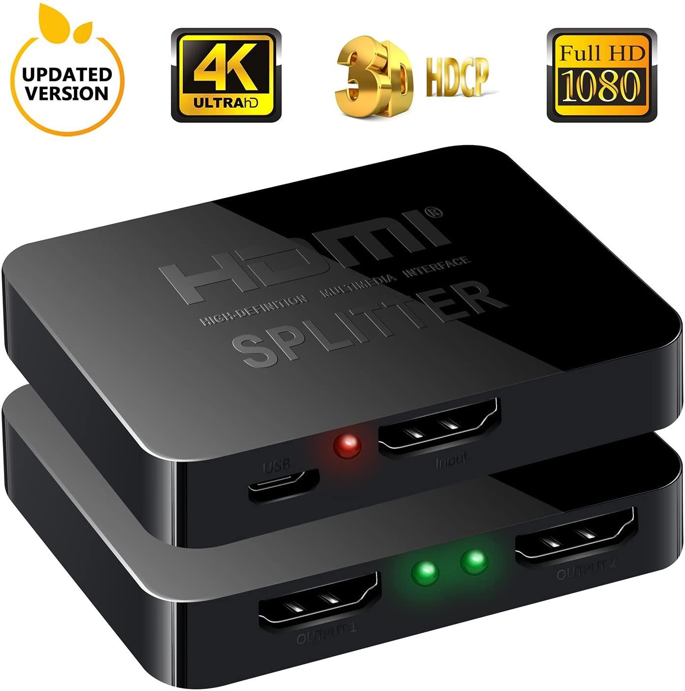 送料無料 1入力2出力 2画面同時出力可能 HDMI分配器 4K 30Hz HDMI スプリッター 2K 信用 2台同時出力 XBOX 2020 新作 2160P DVD ドライバー不要 PS4など ミニポータブル式 HDTV 3D映像対応