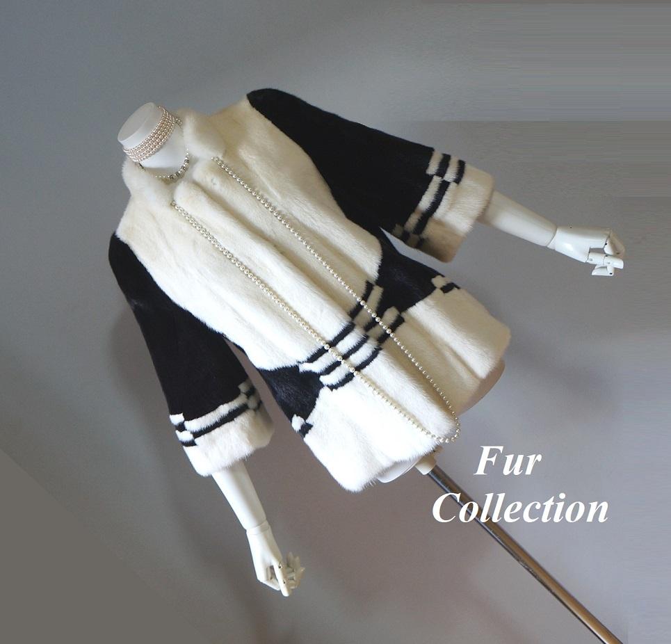 大人可愛いミンクジャケット新品1点物処分ホワイトミンク×ブラック☆レディース毛皮コート・セーブルストール・セーブルコート・チンチラコートフォックスコートお好きな方に