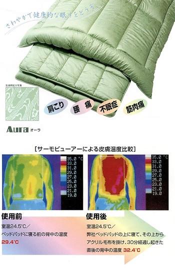 遠赤外線放射ふとん[Aura] 肌ふとん/ダブルサイズ …送料無料…