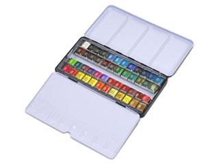 専門家用固形水彩・ハーフパンメタルボックス48色