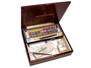 専門家用固形水彩・水彩32色木箱セット