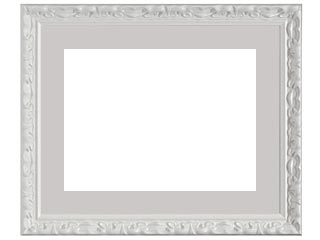 木製デッサン額 MS230 ホワイト5分消色フレーム(マット・ガラス付) 半切