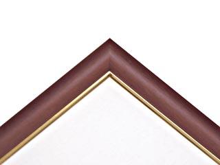 木製仮縁フリーフレームB型 マホガニー色フレーム(面金ゴールド)M-100