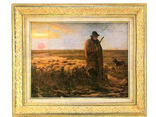 夕暮れに羊を連れ帰る羊飼い(ミレー) P10号