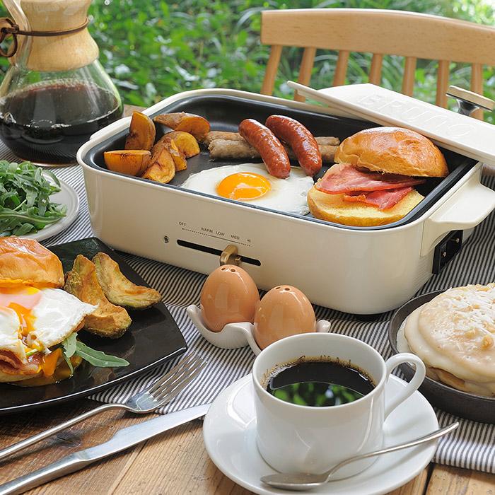 BRUNO コンパクトホットプレート 深鍋 2段式スチーマーセット 蒸し器 2段 2層 透明 蒸し料理 せいろ 温野菜 中華まん 茶碗蒸 オプションパーツ 対応