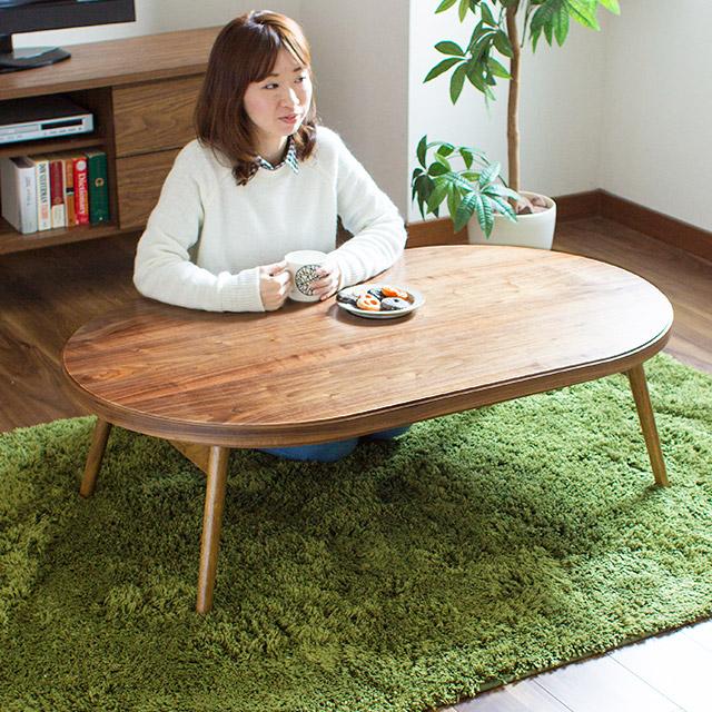 完成品 折りたたみ オーバル こたつテーブル Corona (コロナ) 120cm(炬燵 コタツ 楕円形こたつ 折れ脚こたつ 折りたたみテーブル)