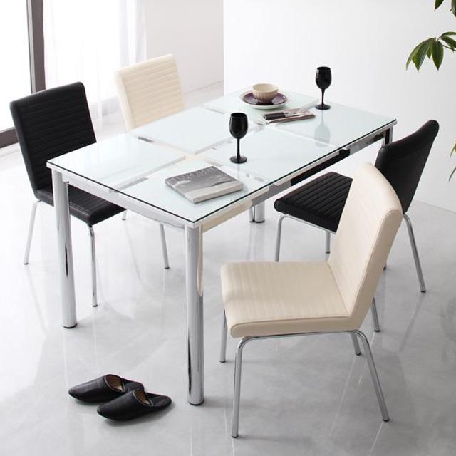 De modera (ディ・モデラ) 5点セット テーブル130cm+チェア4脚 (ガラステーブル ダイニングテーブル 5点セット 4人用)