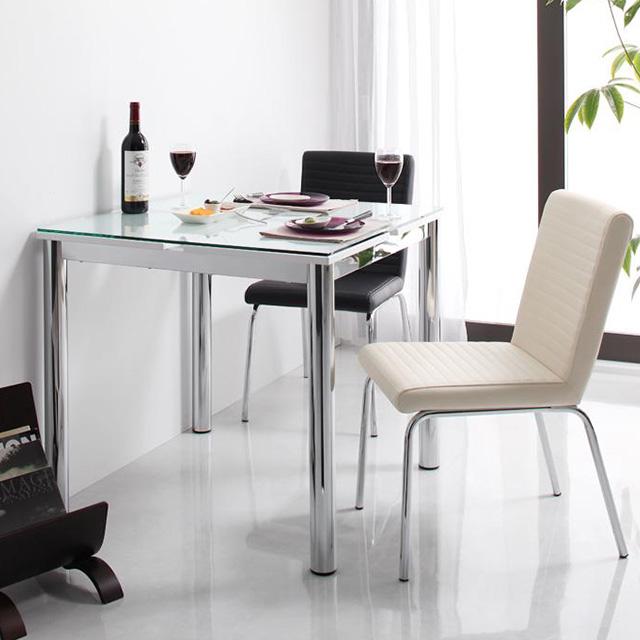 De modera (ディ・モデラ) 3点セット テーブル80cm+チェア2脚(ガラステーブル ダイニングテーブル 3点セット 2人用)