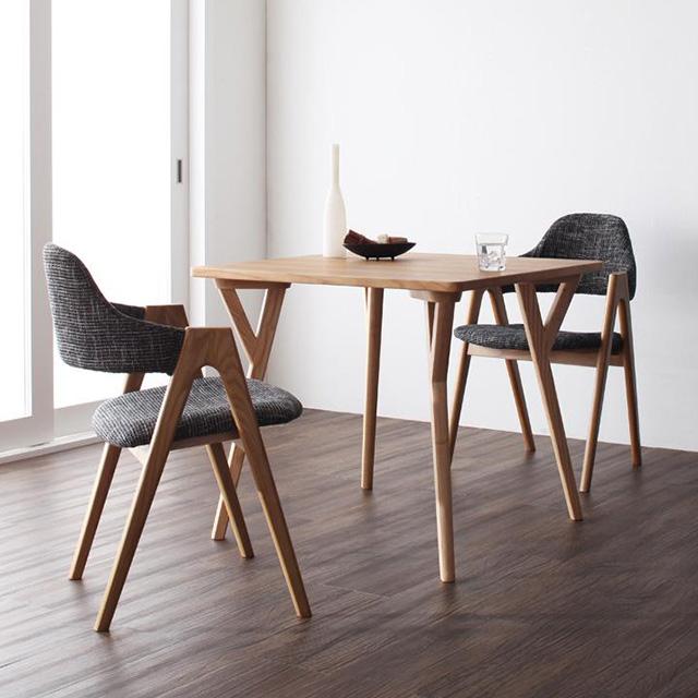 ILALI(イラーリ) 3点セット テーブル80cm+チェア2脚(ダイニングセット 木製テーブル 3点セット 2人用 天然木)