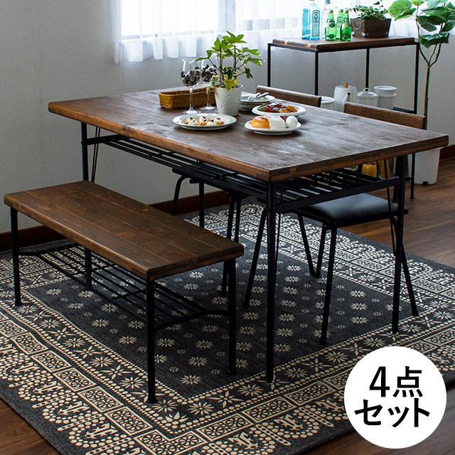 KeLT ダイニングテーブル 140cm 4点セット(テーブル+ベンチ+チェアー2脚 古木風)