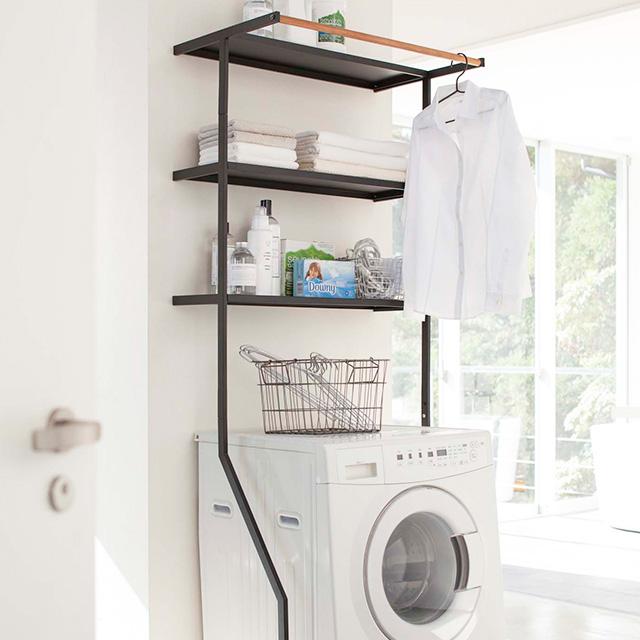 ランドリーラック おしゃれ ランドリー収納 3段 洗濯機収納 収納棚 北欧 送料無料 立て掛けランドリーシェルフ タワー