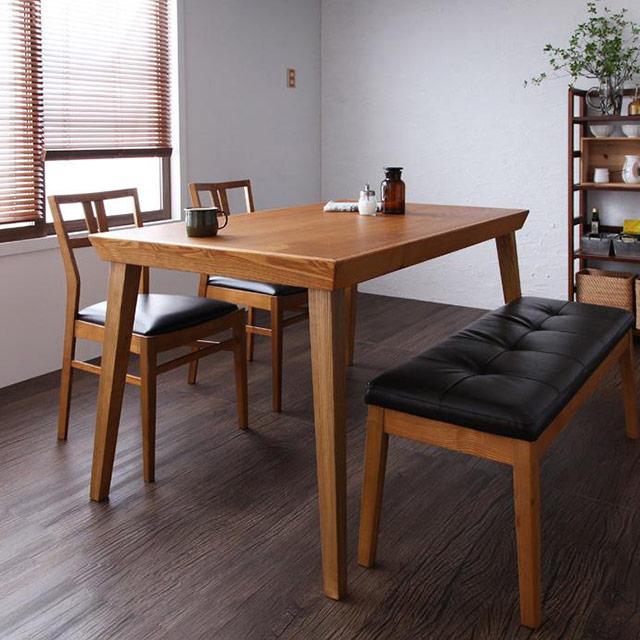 LEWIS (ルイス) 4点セット テーブル135cm+チェア2脚+ベンチ (木製テーブル ダイニングテーブル 4点セット 4人用)