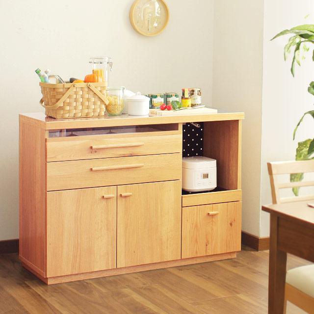 完成品 日本製 OCTA キッチンカウンター 120cm (キッチンカウンター 食器棚 幅120cm キャビネット 木製 オクタ)