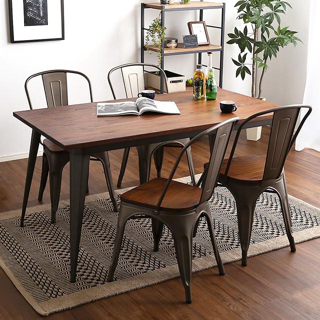 ヴィンテージデザイン ダイニングテーブルセット 幅140 チェア4脚 Porian