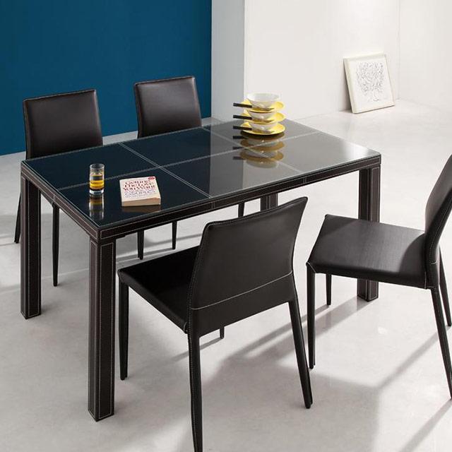 VALLONE (ヴァローネ) 5点セット テーブル135cm+チェア4脚(ガラステーブル ダイニングテーブルセット 5点セット 4人用)