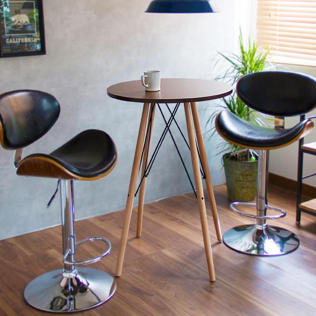 ウォールナット カウンターテーブル knox (カウンター テーブル 木製 バーテーブル 丸 カフェ ハイテーブル ラウンド カウンター バー テーブル 円形 60cm モダン ミッドセンチュリー ヴィンテージ シンプル)