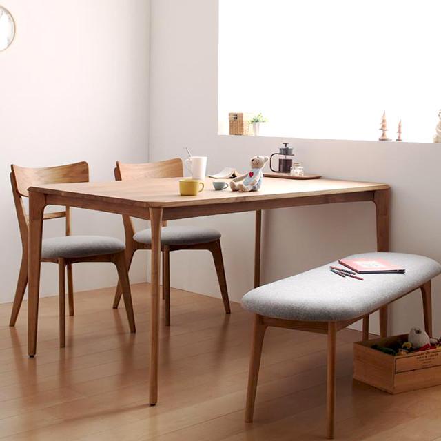 天然木 ダイニングテーブルセット ベンチ チェア2脚 KOEN (コーエン ダイニングチェア ダイニングテーブル ベンチ 長椅子 木製 4点セット)