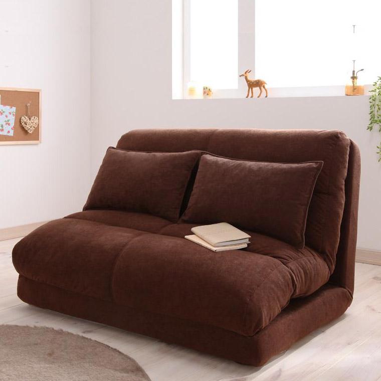 コンパクトフロアリクライニングソファーベッド ムウ 幅90cm (2人掛けソファー カウチソファー ソファーベッド)