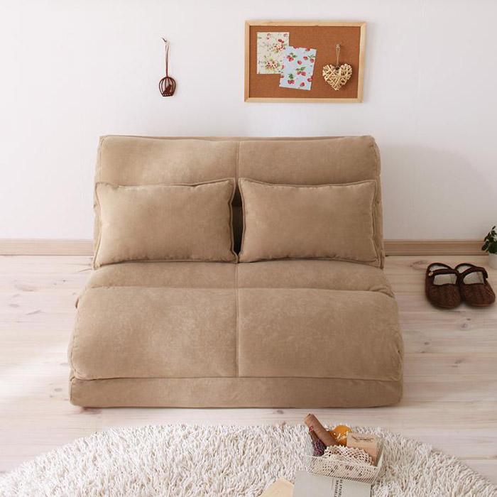 コンパクトフロアリクライニングソファーベッド ムウ 幅120cm (2人掛けソファー カウチソファー ソファーベッド)