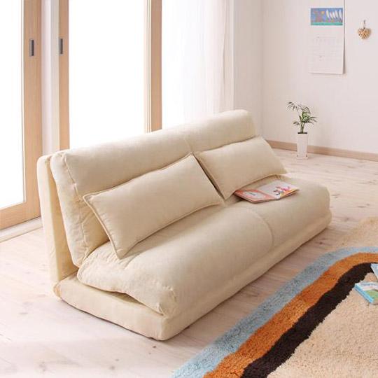 コンパクトフロアリクライニングソファーベッド ムウ 幅140cm (2人掛けソファー カウチソファー ソファーベッド)
