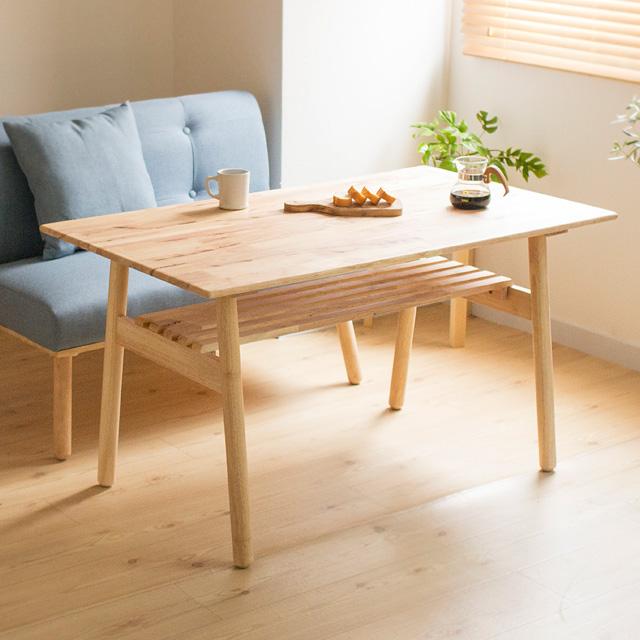 NS ダイニングテーブル 天然木 120 (ダイニングテーブル テーブル ウッド ダイニング 北欧 おしゃれ ナチュラル ナチュラル北欧 シンプル モダン 木目 天然木 ラバーウッド 北欧 おしゃれ)
