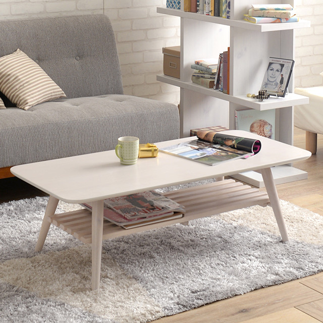 センターテーブル おしゃれ 棚付き 折りたたみ Sereno リビングテーブル ローテーブル