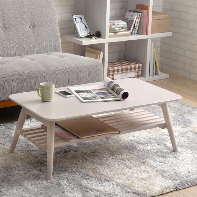 センターテーブル おしゃれ 棚付き 折りたたみ 幅90cm Sereno リビングテーブル ローテーブル