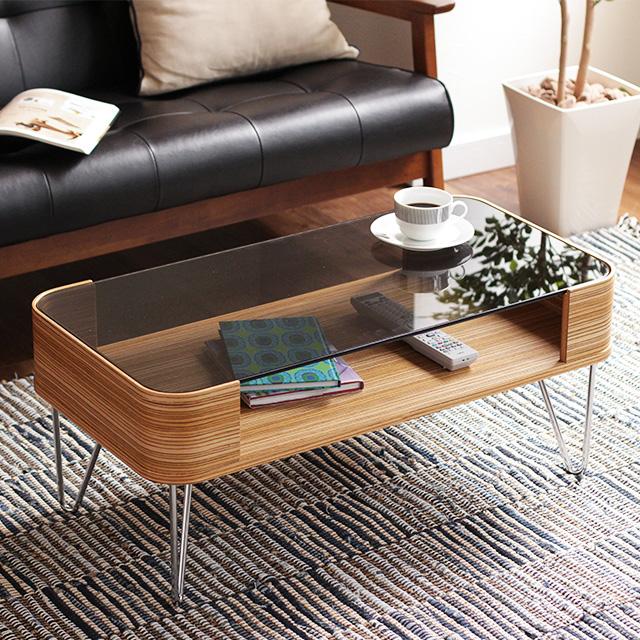 センターテーブル おしゃれ 曲げ木 ガラス テーブル Pirie 80 収納 北欧 ローテーブル リビングテーブル コーヒーテーブル
