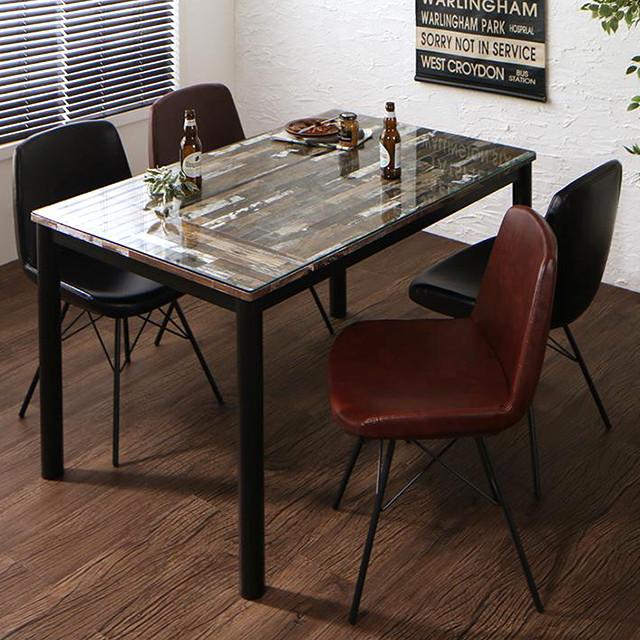 ガラスダイニングテーブルセット 幅130 チェア4脚 vole (ヴォレ ダイニングチェア ダイニングテーブル 5点セット ガラステーブル)
