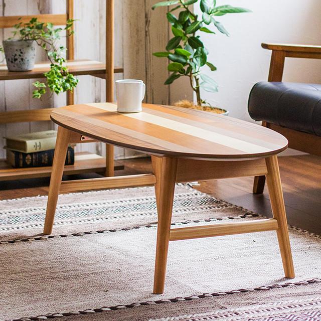 折りたたみ テーブル センターテーブル リビングテーブル 天然木 木製 おしゃれ 北欧 折りたたみテーブル オーバルテーブル YOGEAR