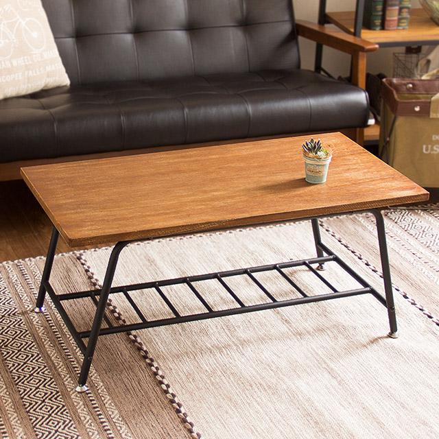 センターテーブル おしゃれ ZAGA 90 テーブル リビングテーブル 棚付き ヴィンテージ 家具 レトロ カフェテーブル ザガ コーヒーテーブル 天然木 スチール 桐材 木製