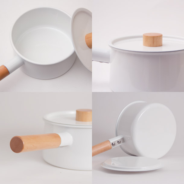 kaico one pot pot stand with cherry planks (silkworm / enamel / porcelain enameled / saucepan / Cookware / cooking pot kitchen tools / Makoto Koizumi good design / Nordic / Mainichi design award)