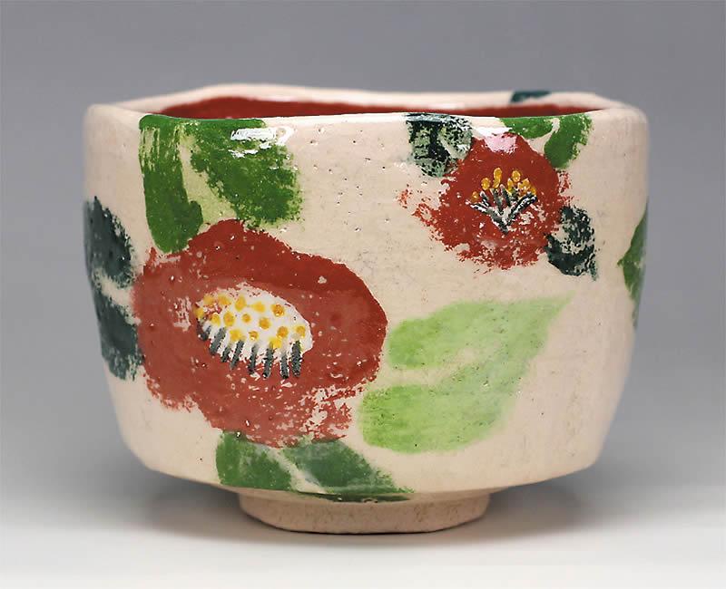 2014年初春作品白楽 椿図 茶碗