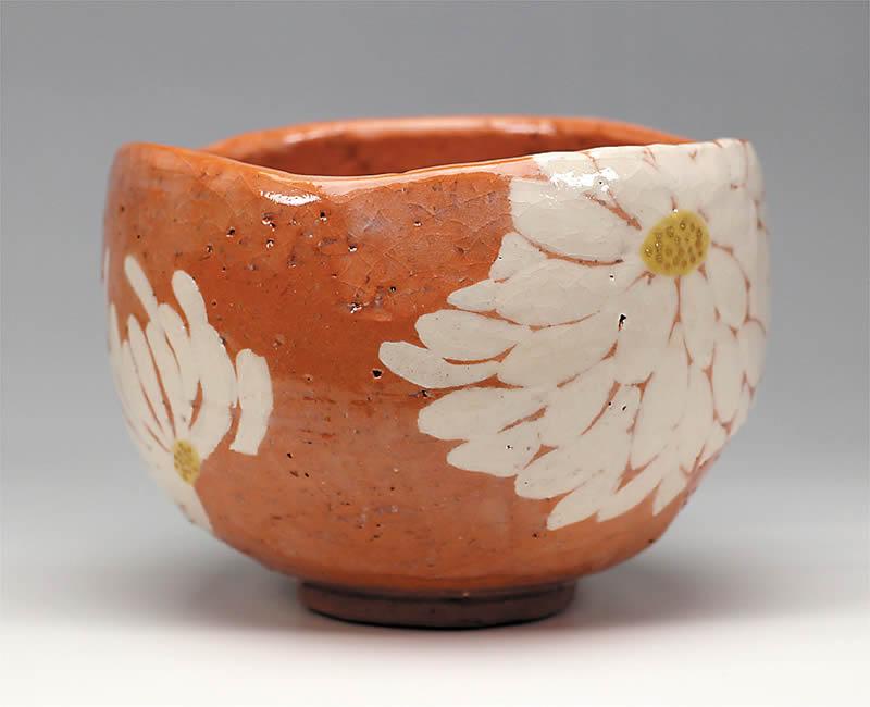 2014年初春作品赤土楽 菊置上 茶碗