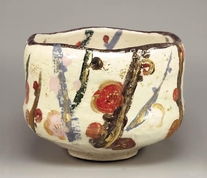 楽入印乾山 槍梅の画 茶碗