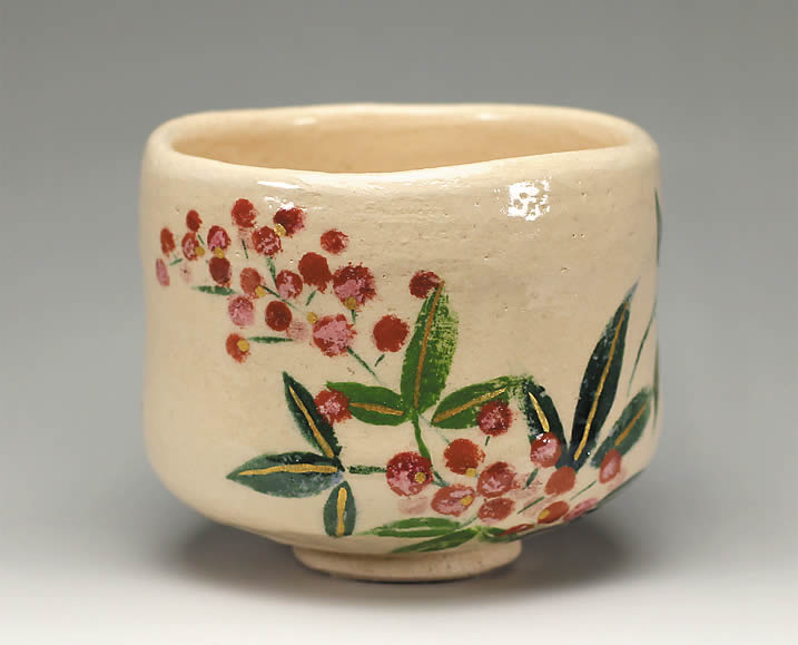 2013年初春作品白楽 南天の絵 茶碗