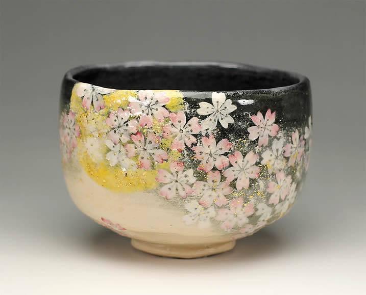 2013年初春作品月夜桜の絵 茶碗