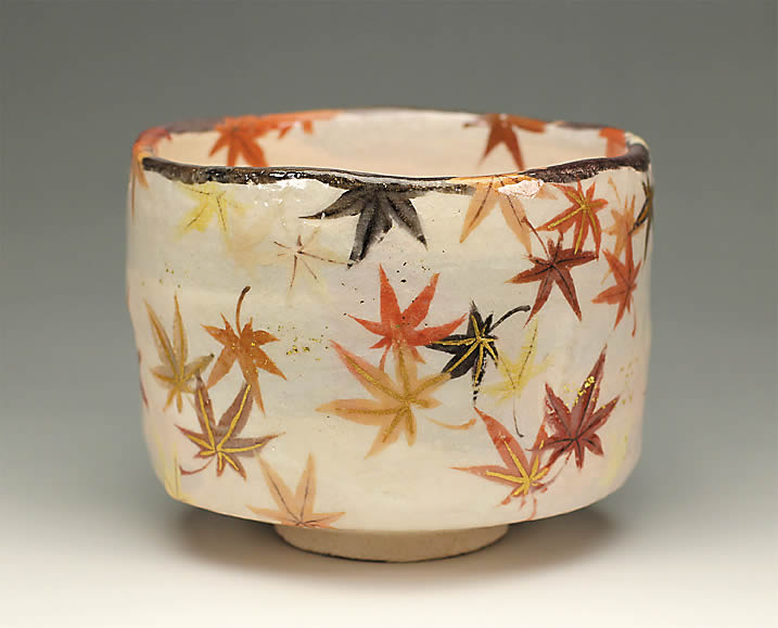 2013年初春作品紅葉の絵 茶碗