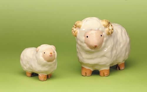 2015年初春作品 白楽 親子羊置物