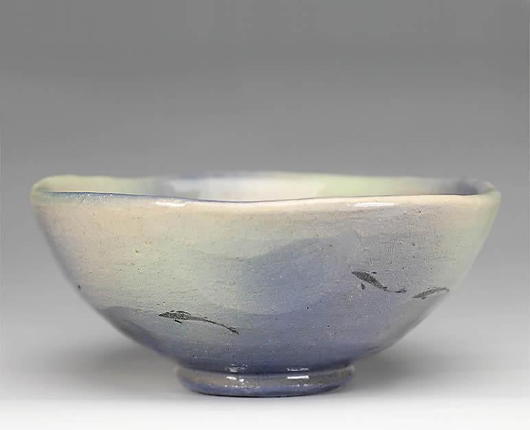 2015年初春作品 楽入印鮎の絵 平茶碗