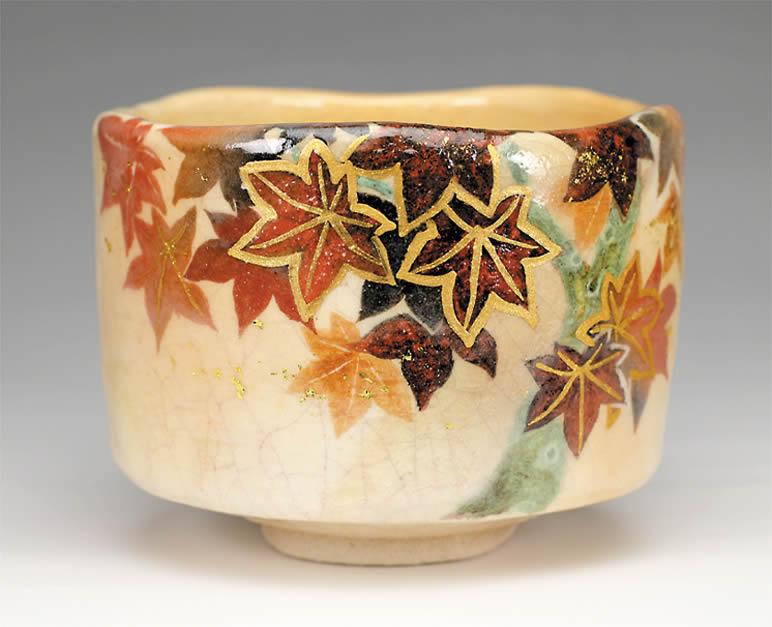 2015年初春作品 楽入印紅葉の絵 茶碗