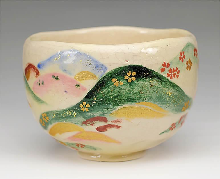 2015年初春作品 楽入印仁清「色絵吉野山の図」茶碗