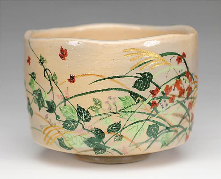 2015年初春作品 楽入印抱一「夏秋草図」茶碗