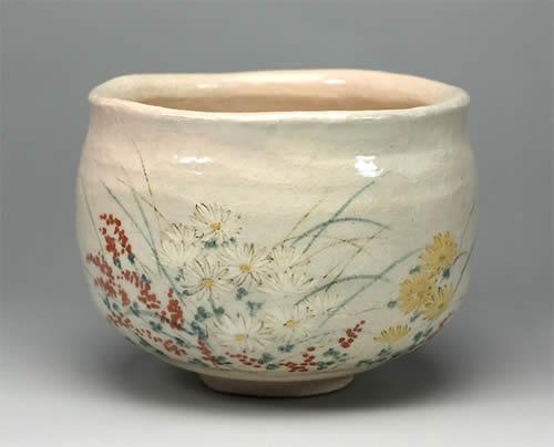 2012年初春作品秋草の絵 茶碗