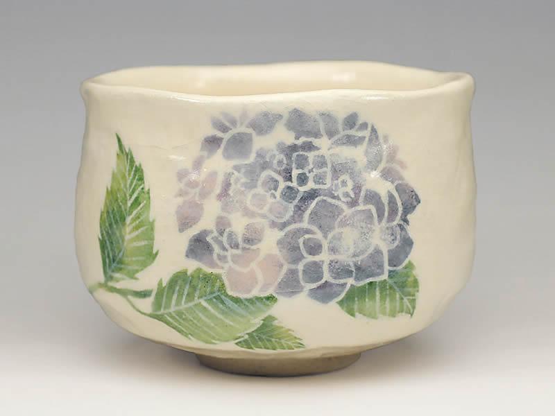 2020年初春作品紫陽花の絵 茶碗