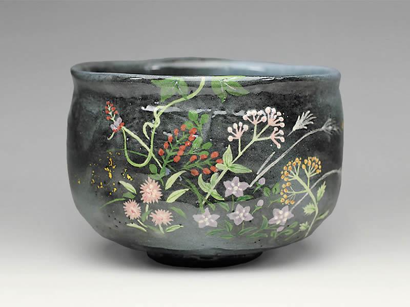 2021年初春作品 楽入印秋草の絵 茶碗