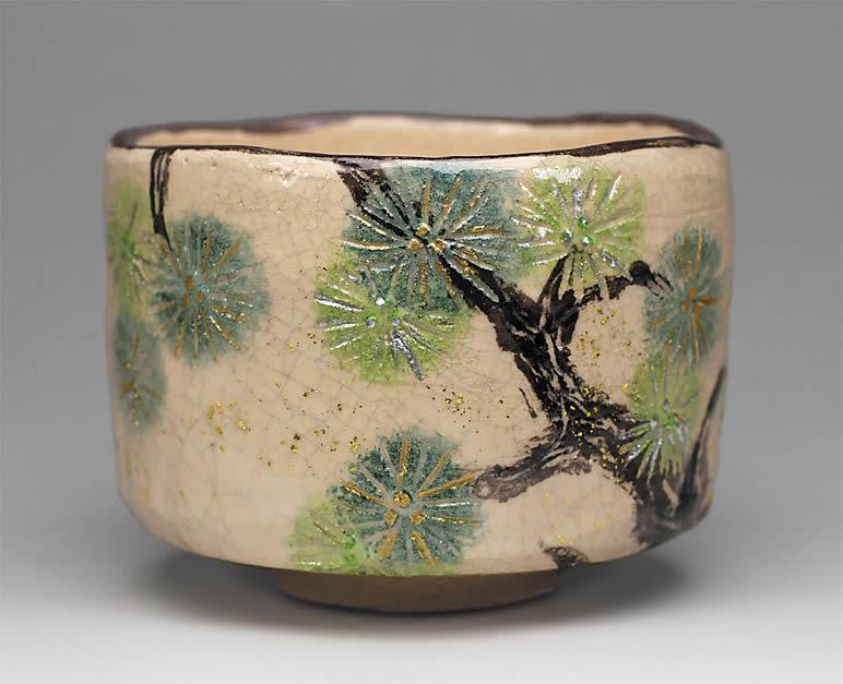 2017年初春作品 唐松の絵 茶碗