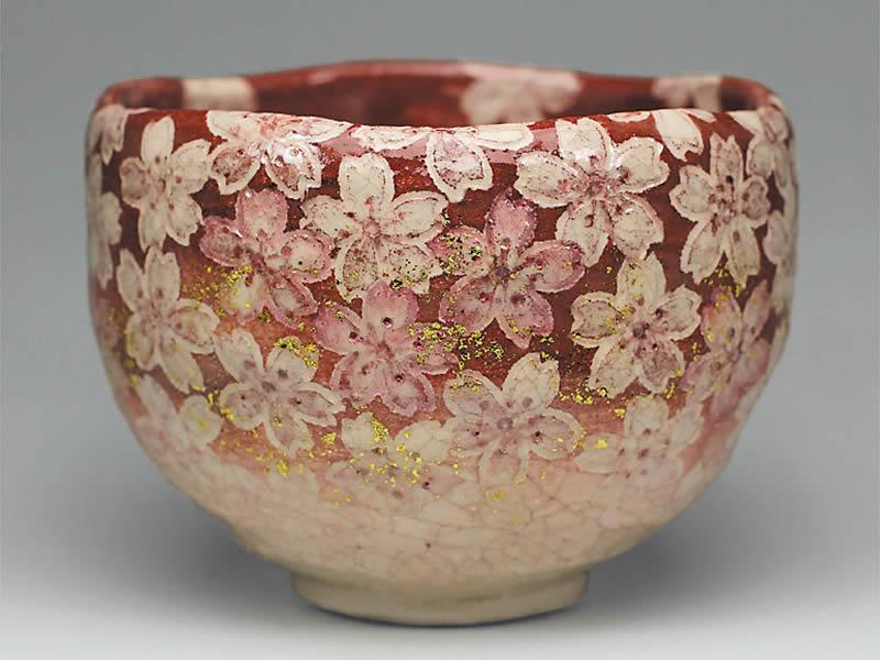 2018年初春作品 「紅桜尽くし」茶碗
