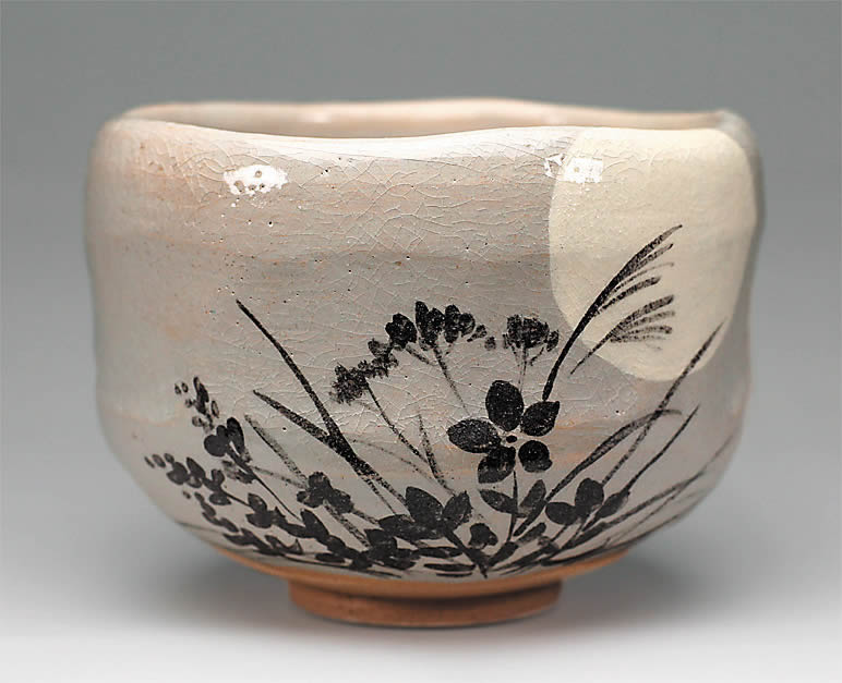 2016年初春作品 「秋草影絵」茶碗