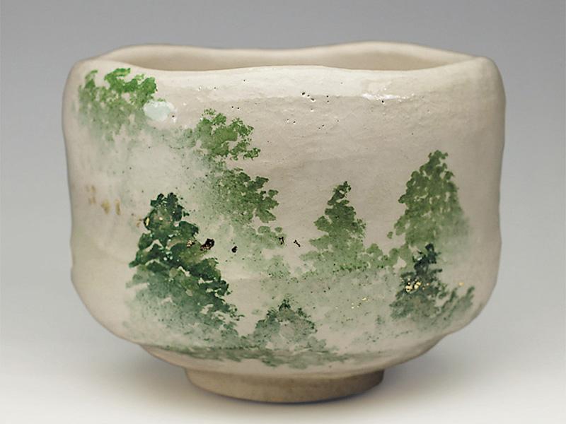 2019年初春作品 「朝霧」森林の絵 茶碗
